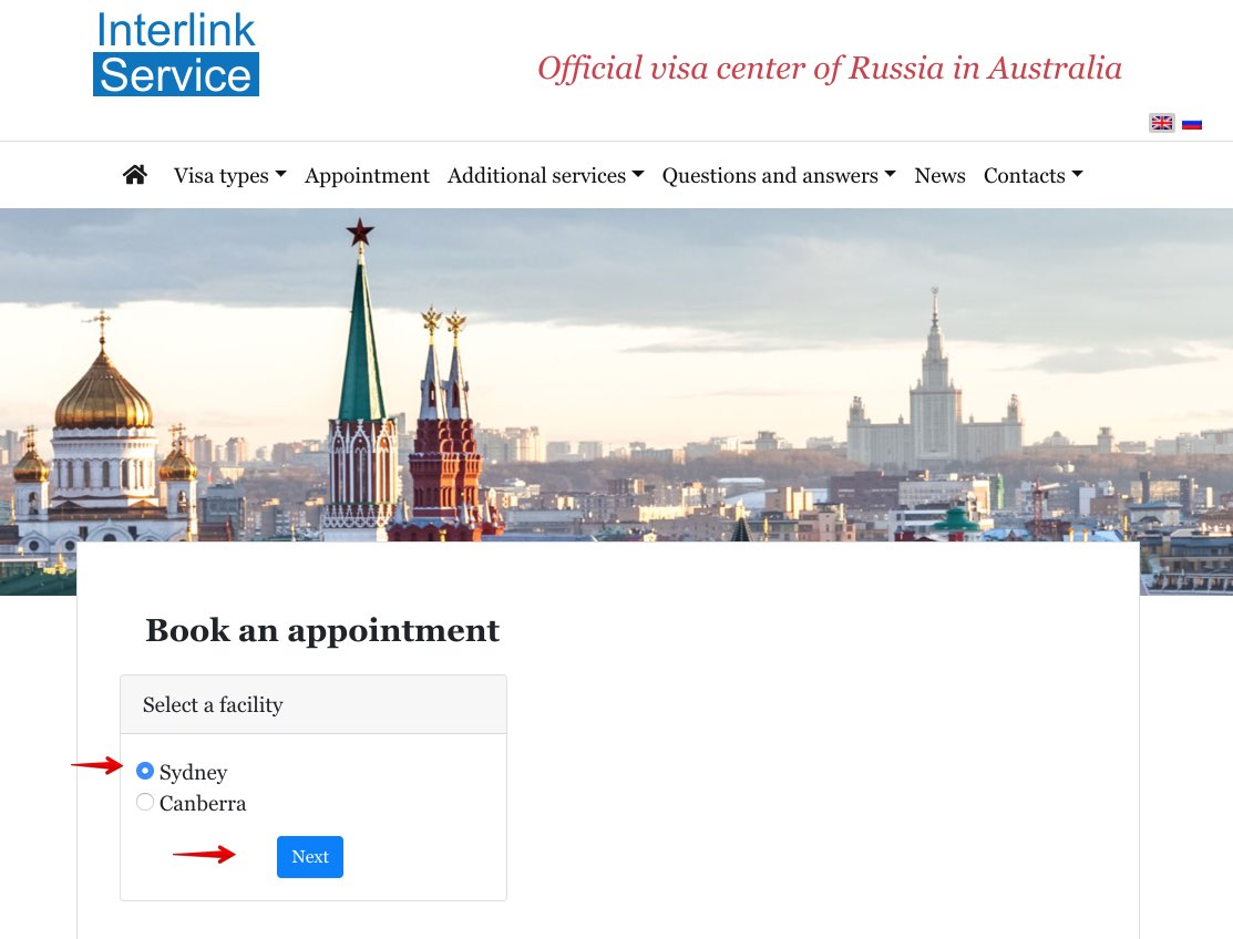 Book an appointment at Russian Visa Center in Australia