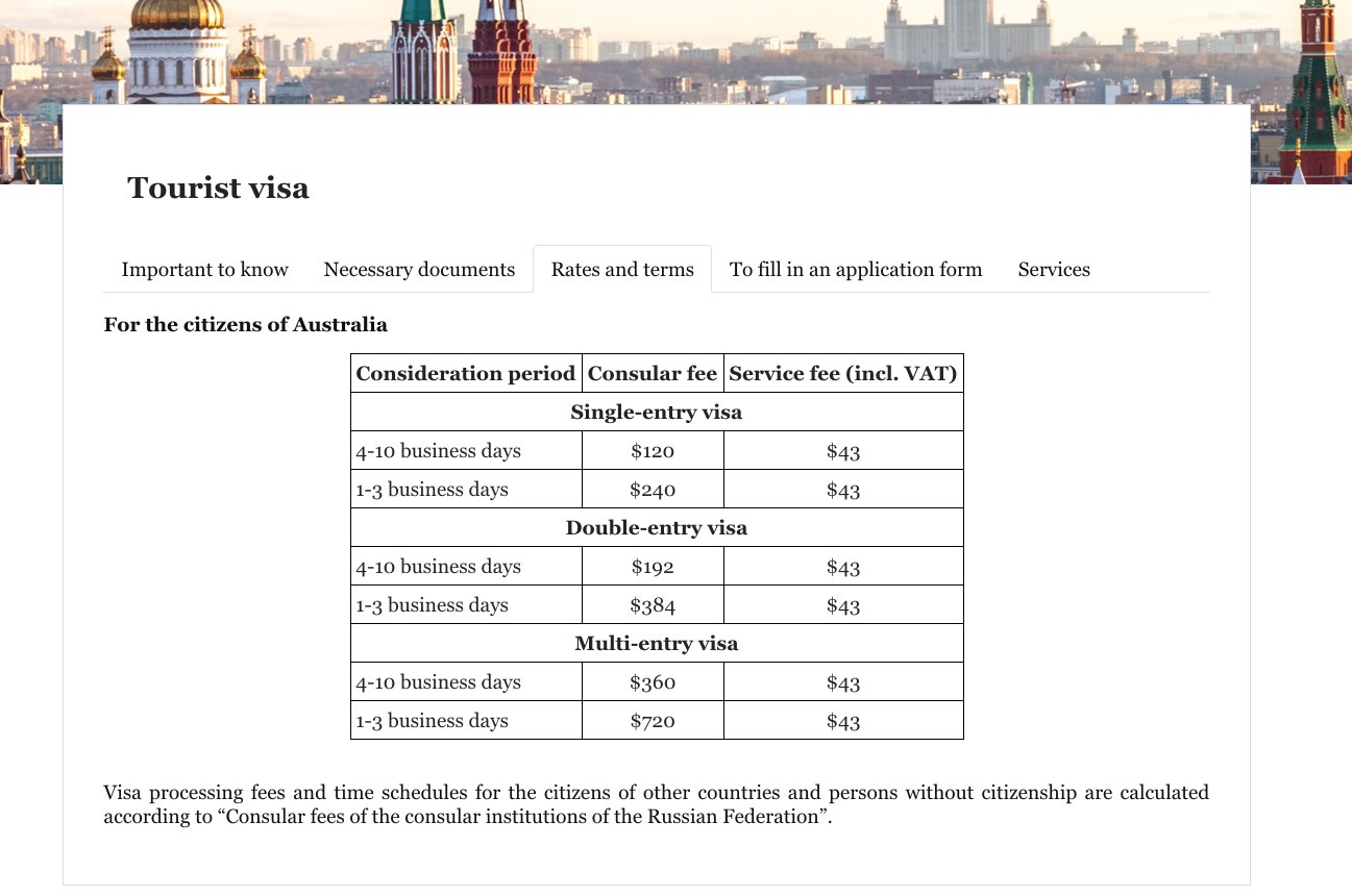Visa center of Russia in Australia - Tourist visa - Fees and rates